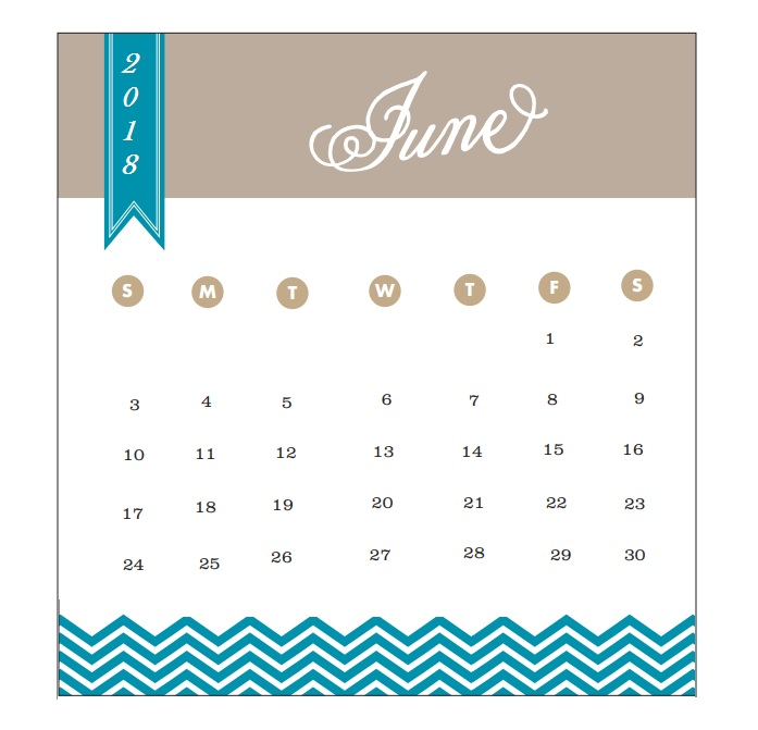 2018 Monthly Printable Calendar June