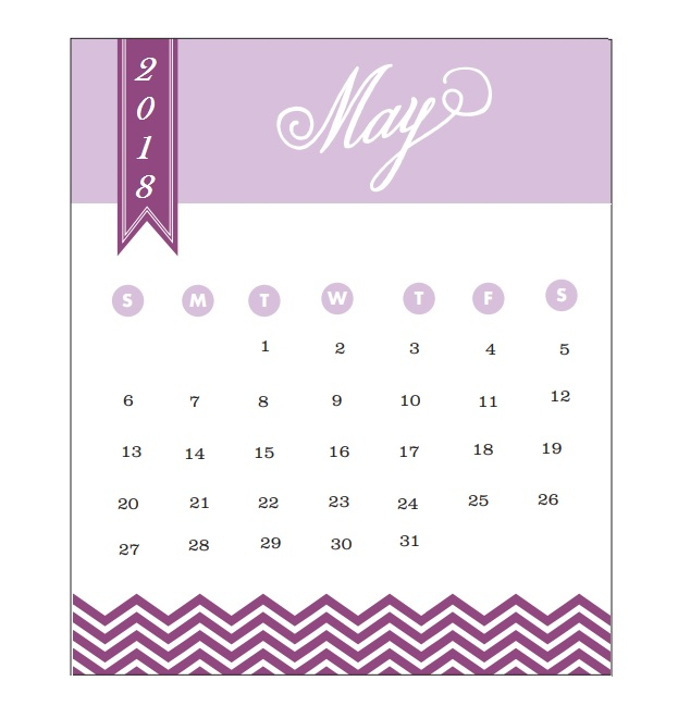 2018 Monthly Printable Calendar May