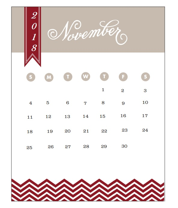 2018 Monthly Printable Calendar November