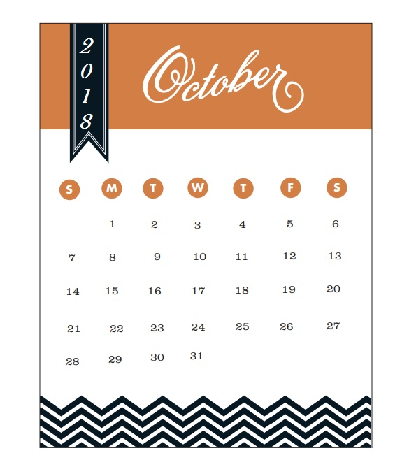 2018 Monthly Printable Calendar October
