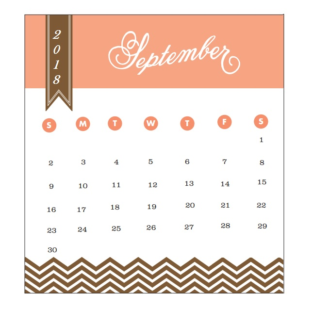 2018 Monthly Printable Calendar September