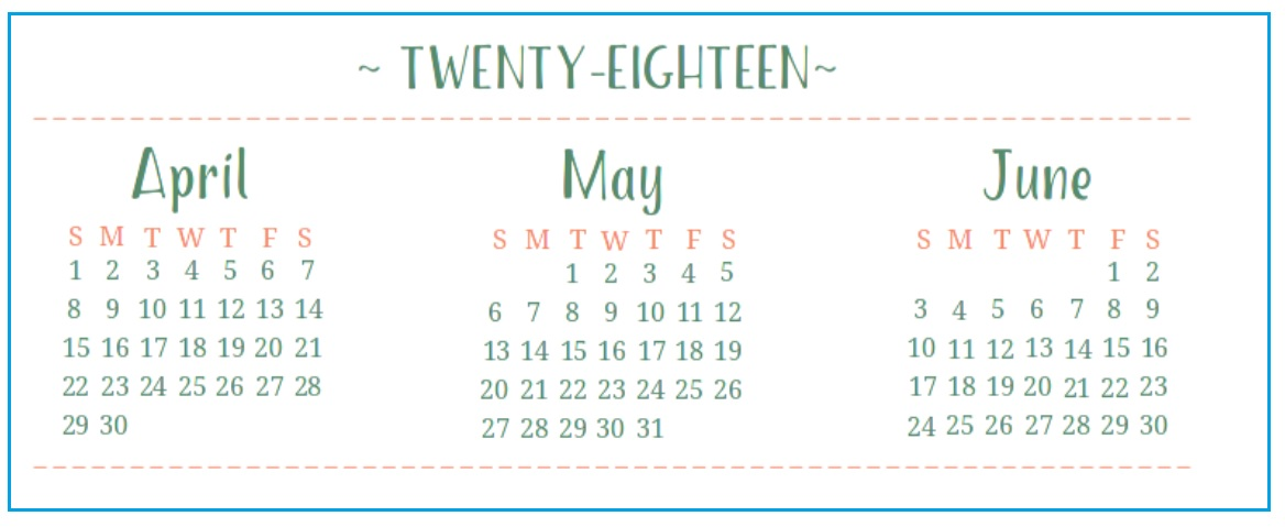 2018 Quarterly Printable Calendar