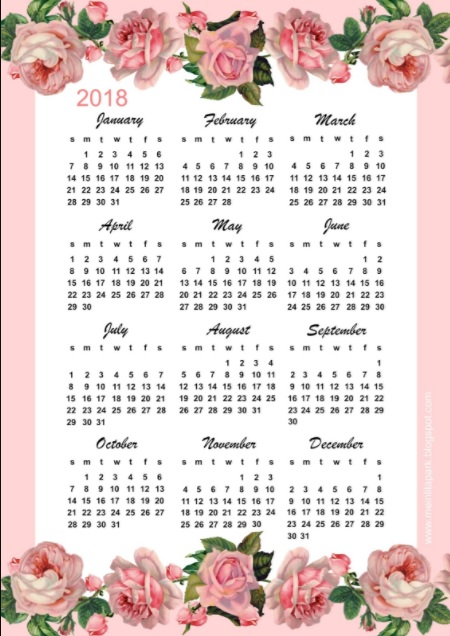 2018 Year One Page Printable Calendar