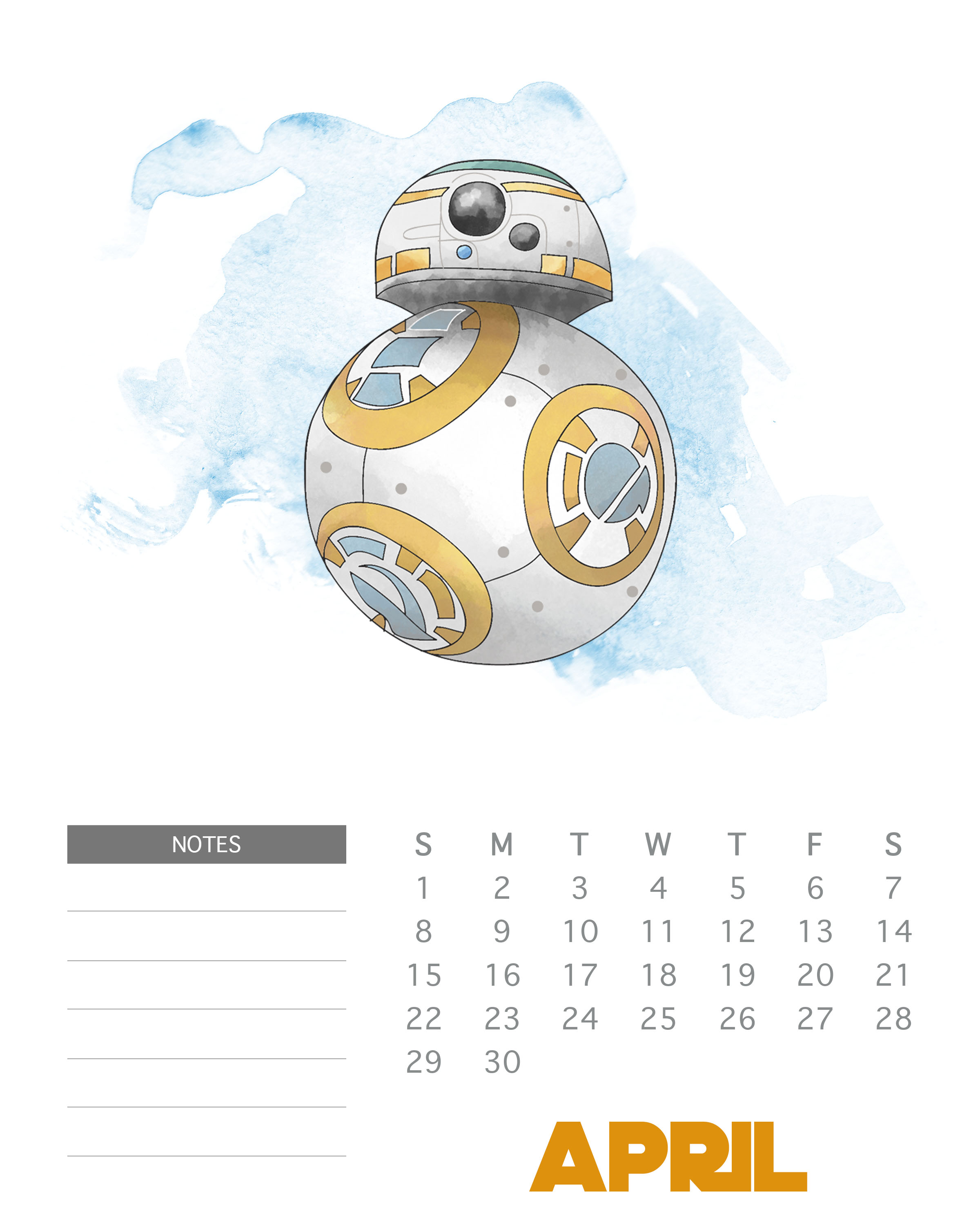 April 2018 Star Wars Calendar