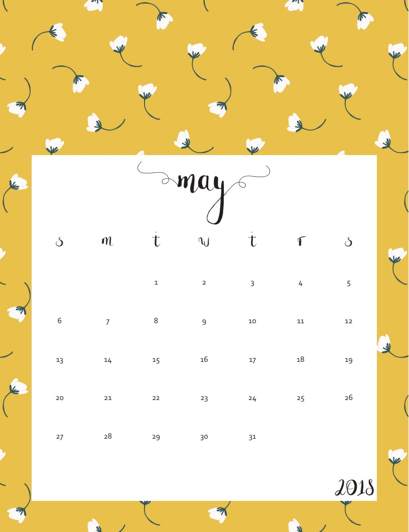 Beautiful 2018 Calendar May Templates