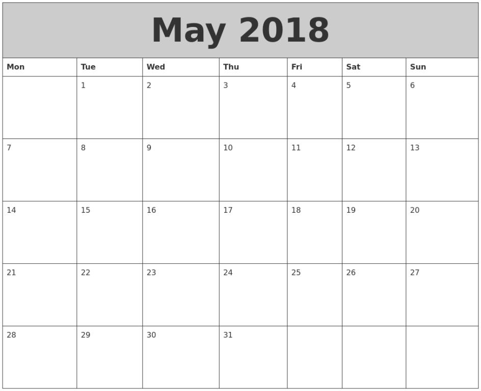 Calendar May  In Pdf Word Excel Printable Template