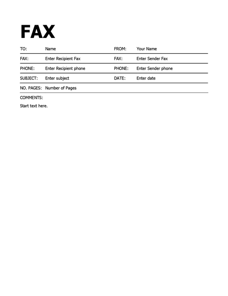 Blank Fax Cover Sheet Printable PDF