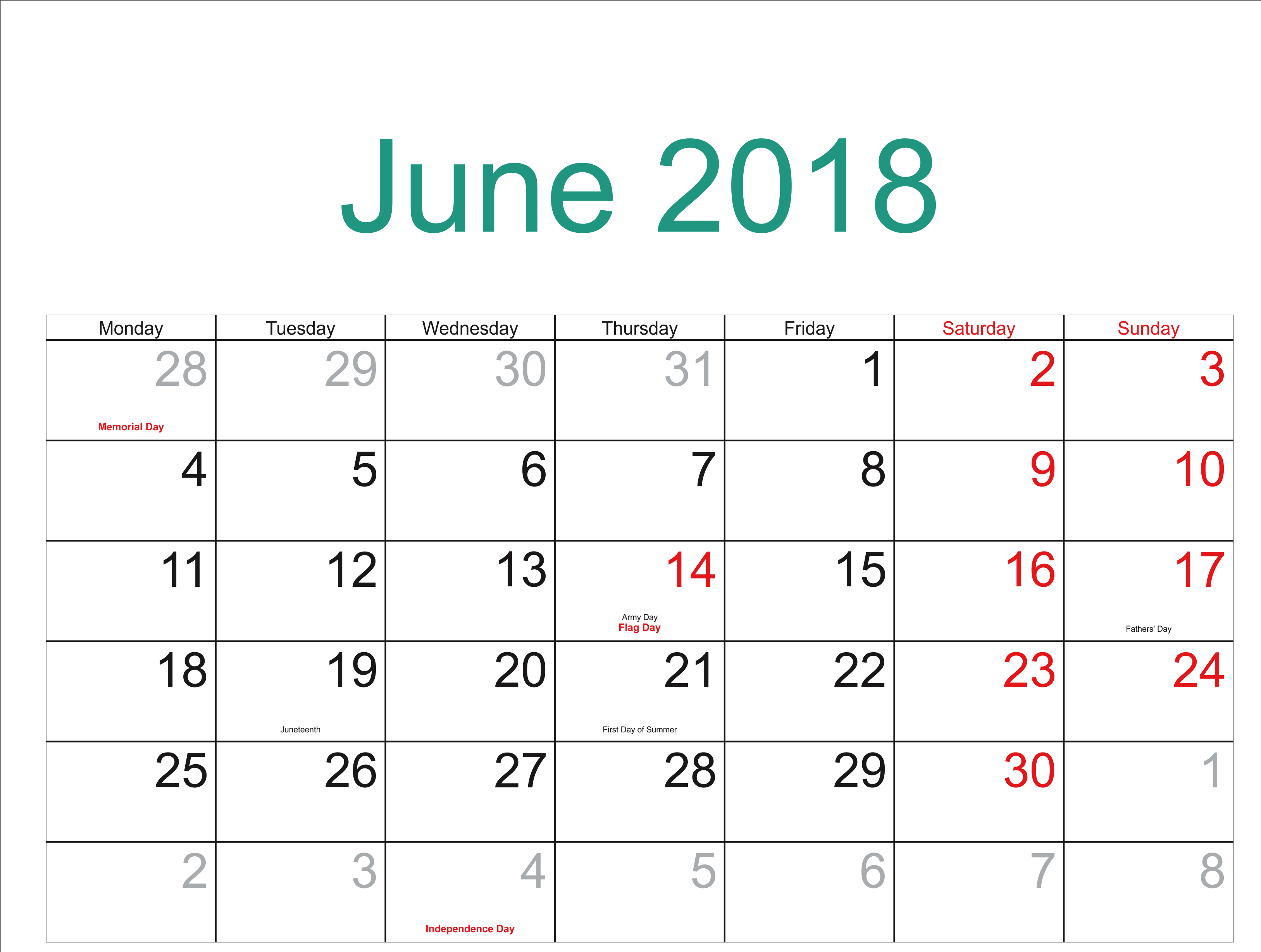 Blank June 2018 Calendar With Holidays