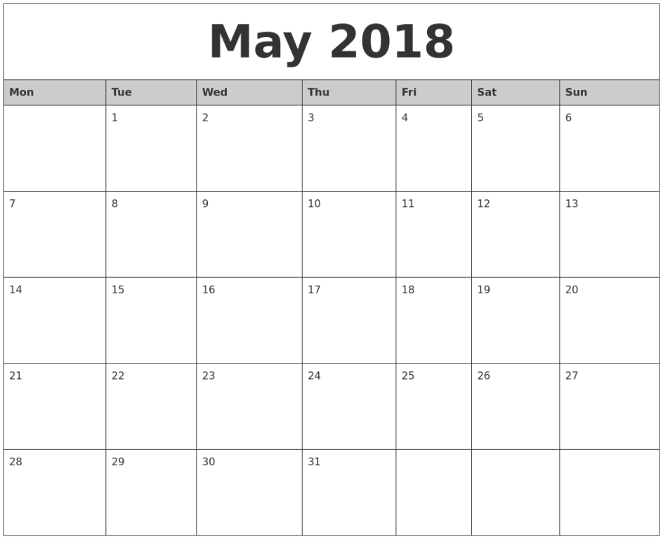 Blank May 2018 Calendar Printable Template