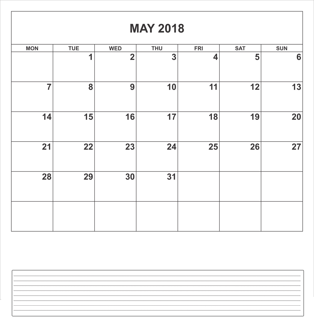 Blank May 2018 Calendar With Notes