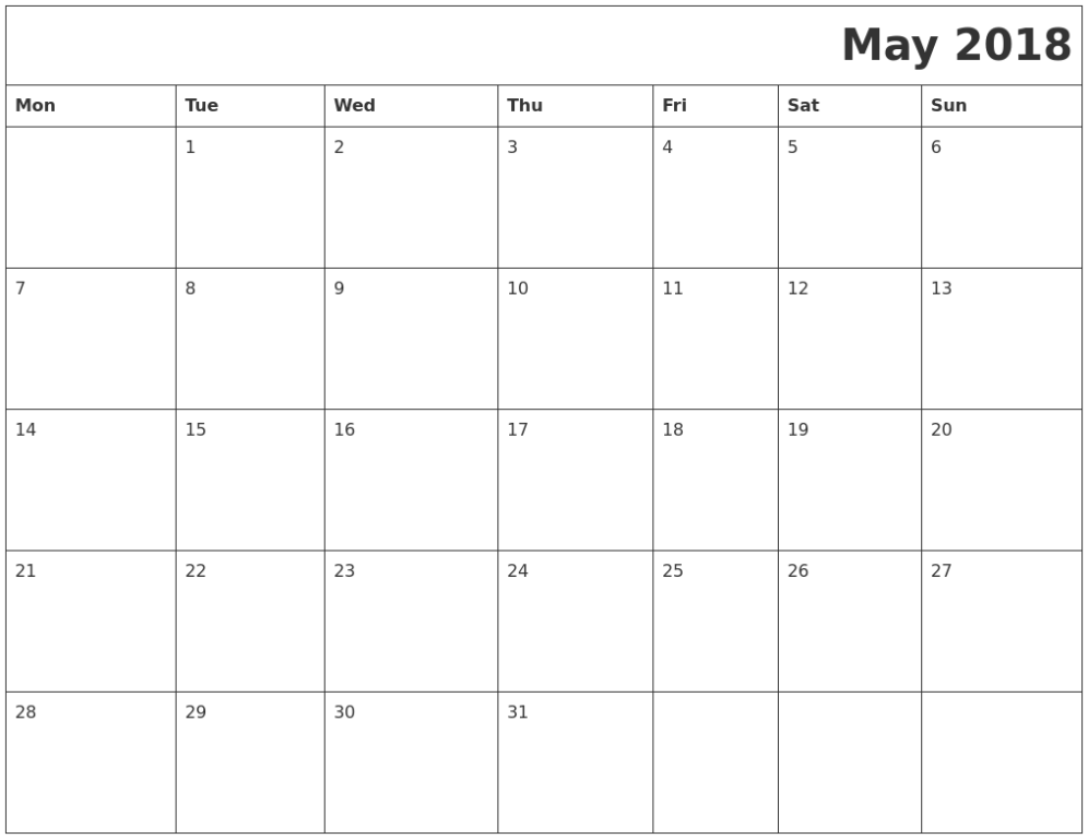 Blank May 2018 Monthly Calendar
