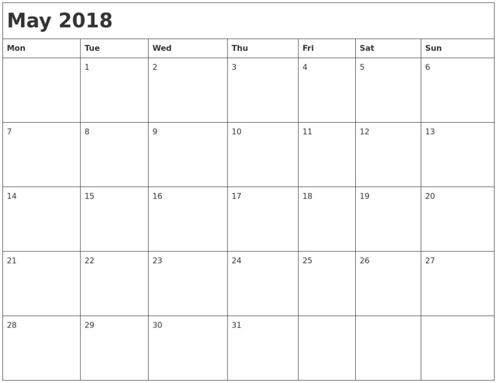 Blank May 2018 Calendar Printable Free Template