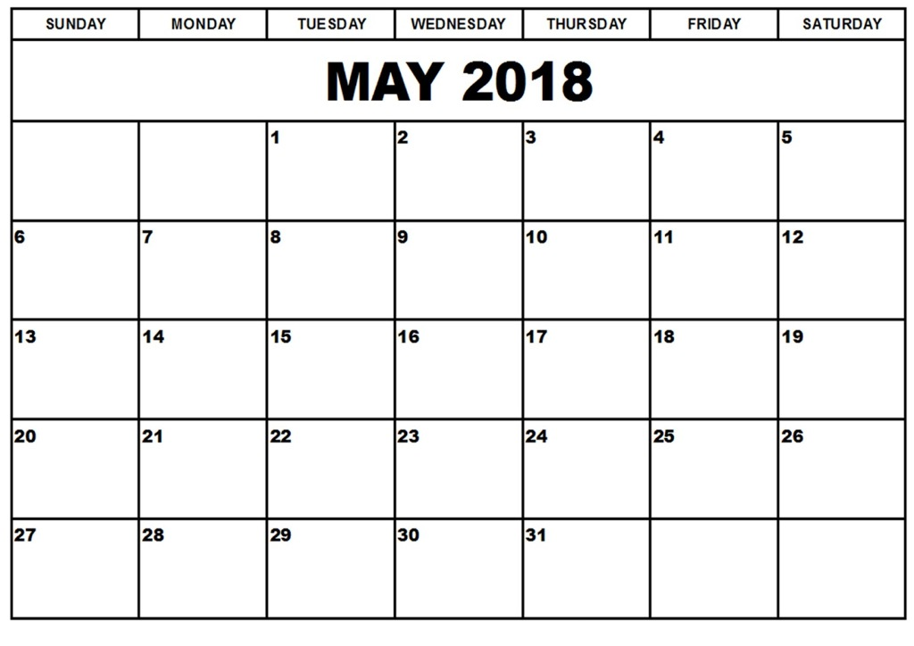 Calendar 2018 For May