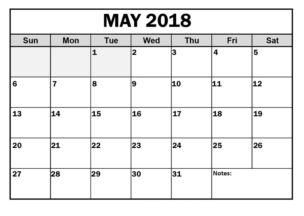 Calendar 2018 May Month