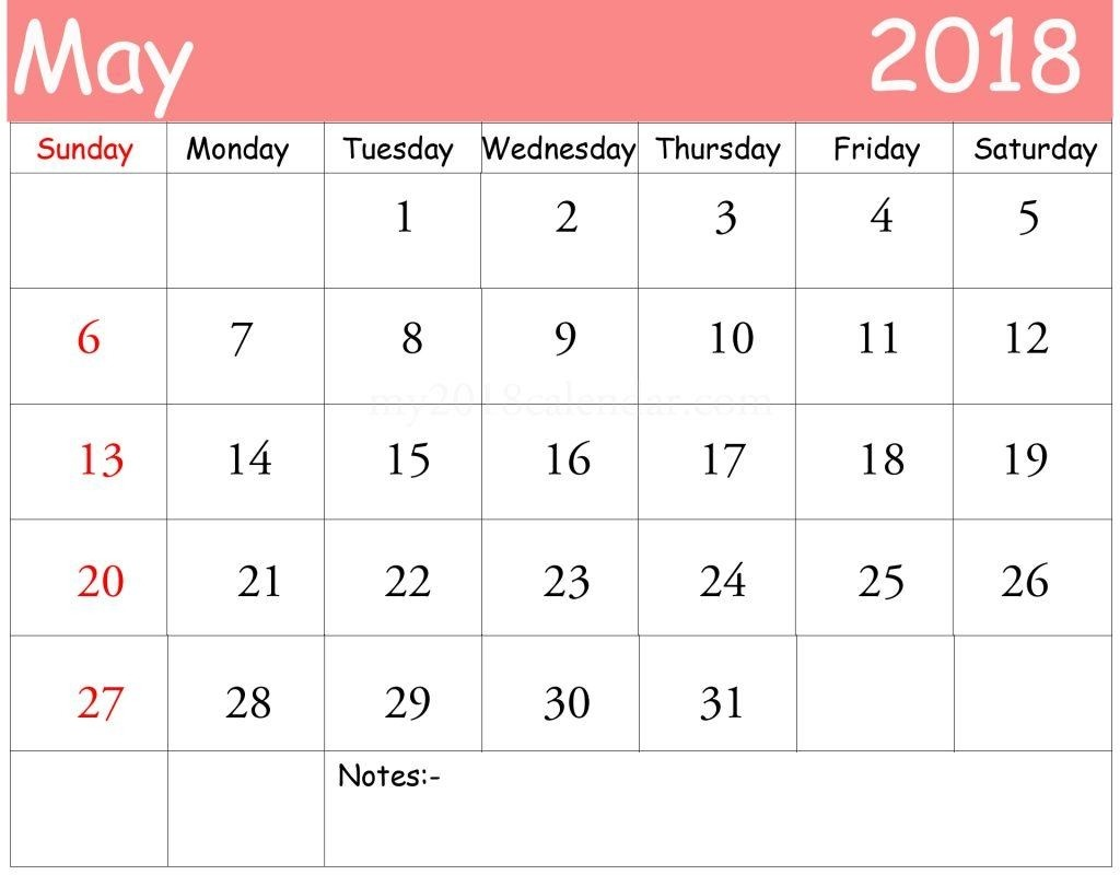 Calendar 2018 May With Notes