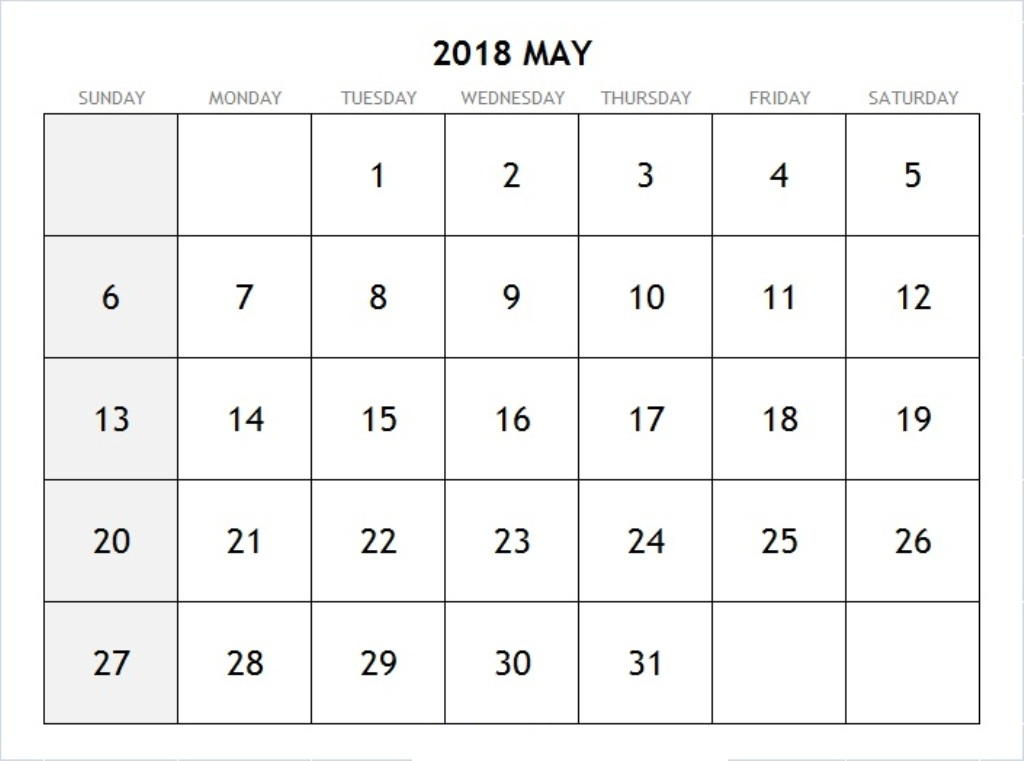 Calendar For May 2018