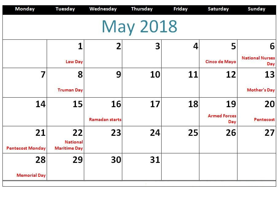 Calendar For May 2018 Holidays