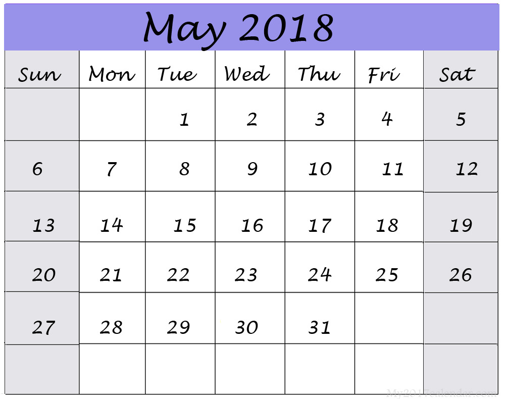 Calendar For May 2018 Template