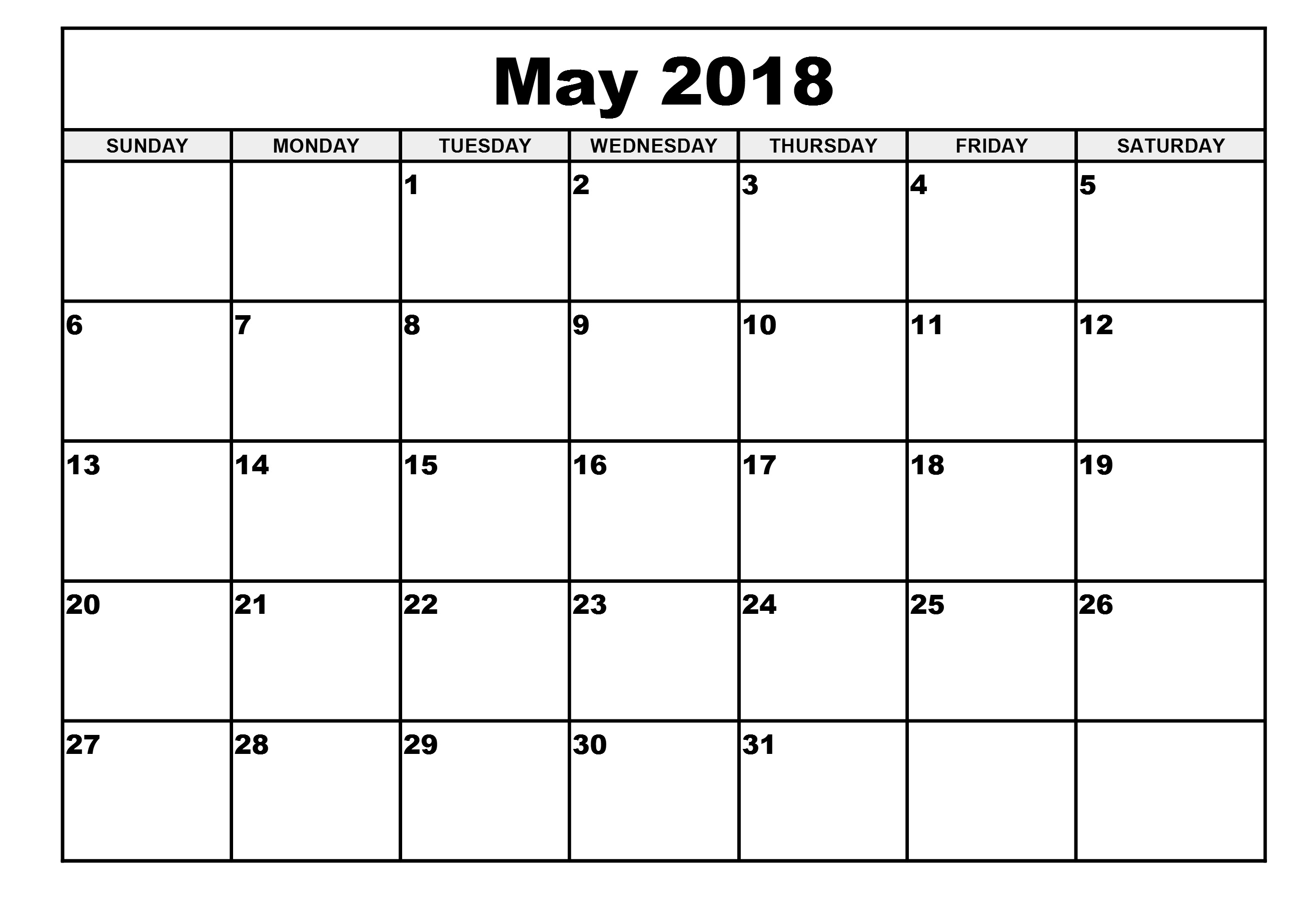 Calendar For May Month 2018