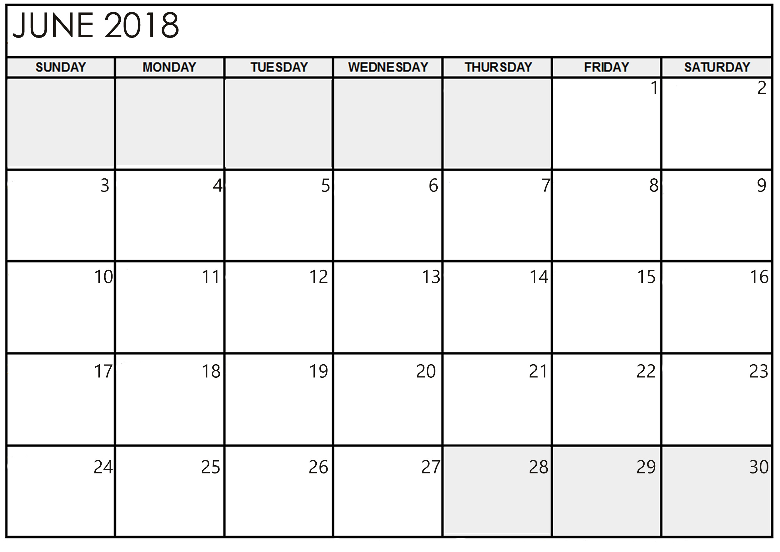 Calendar June 2018 In Printable Format