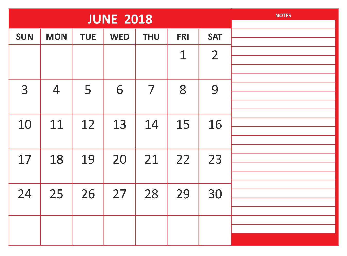 Calendar June 2018 Printable Sheet