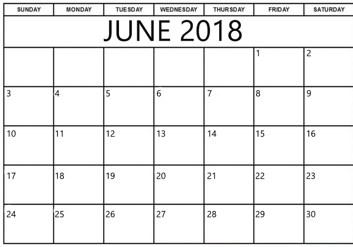 Calendar June 2018 Printable Template