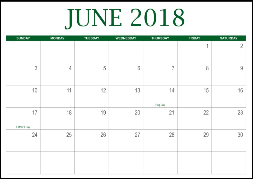 Calendar June 2018 Printable With Holidays