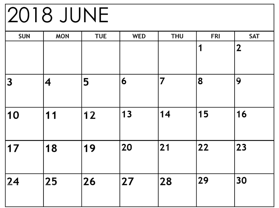 Calendar June 2018 Printable With Notes