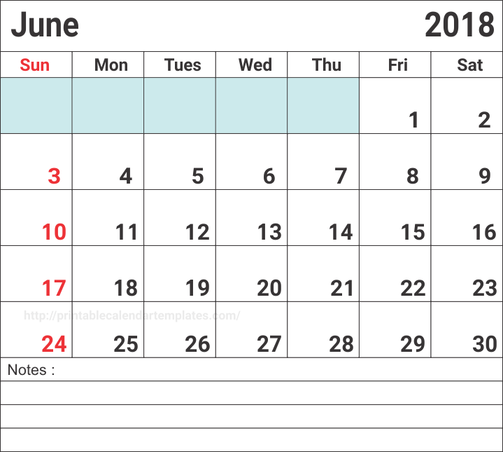 Calendar June 2018 Printable Word