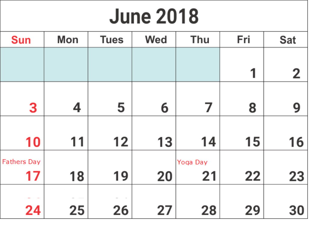 Calendar June 2018 With Holidays