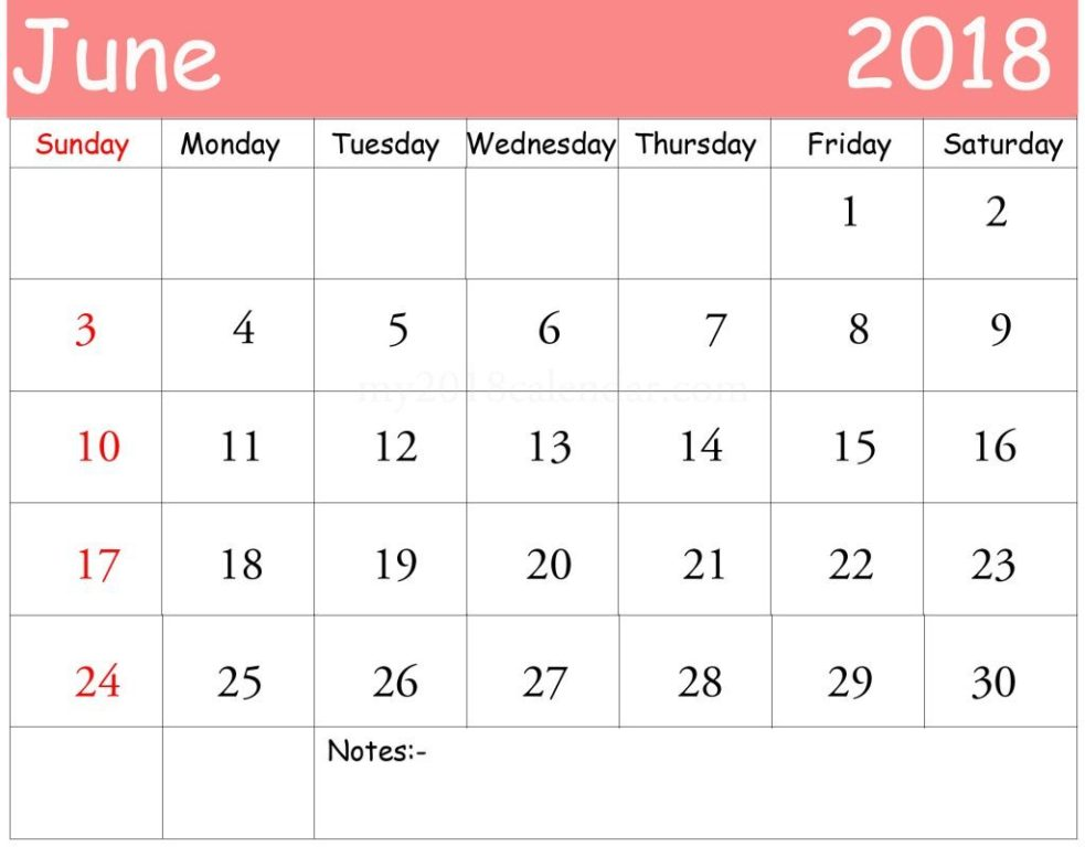 Calendar June 2018 Worksheet