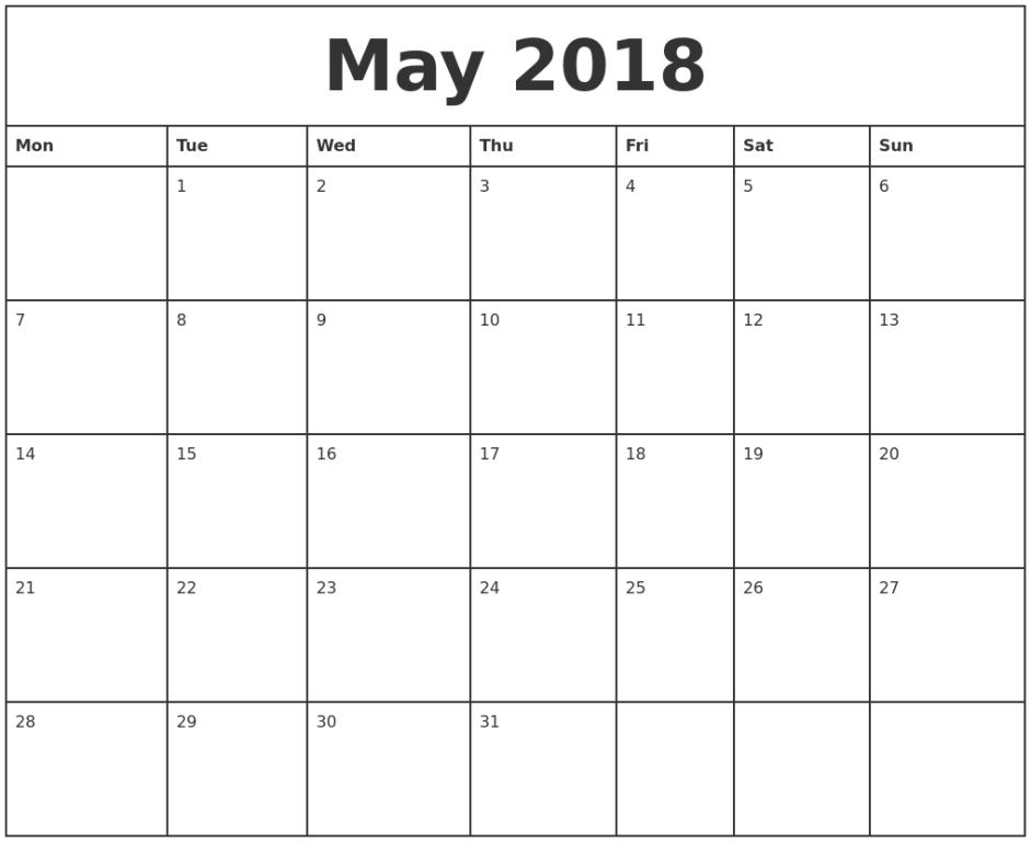 Calendar May 2018 Images