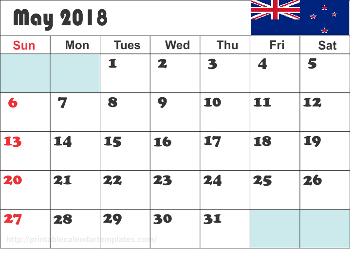 Calendar May 2018 Nz Template