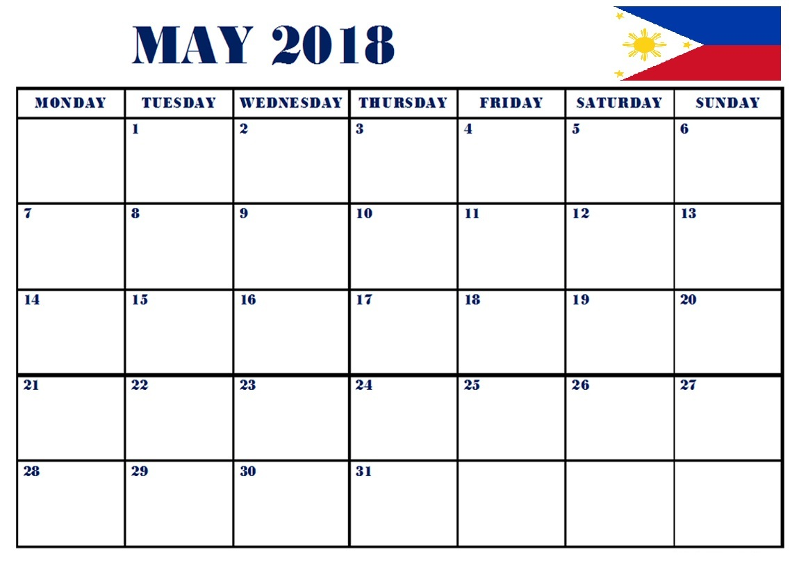 Calendar May 2018 Philippines