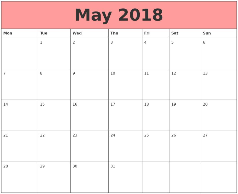 Calendar May 2018 Printable Template