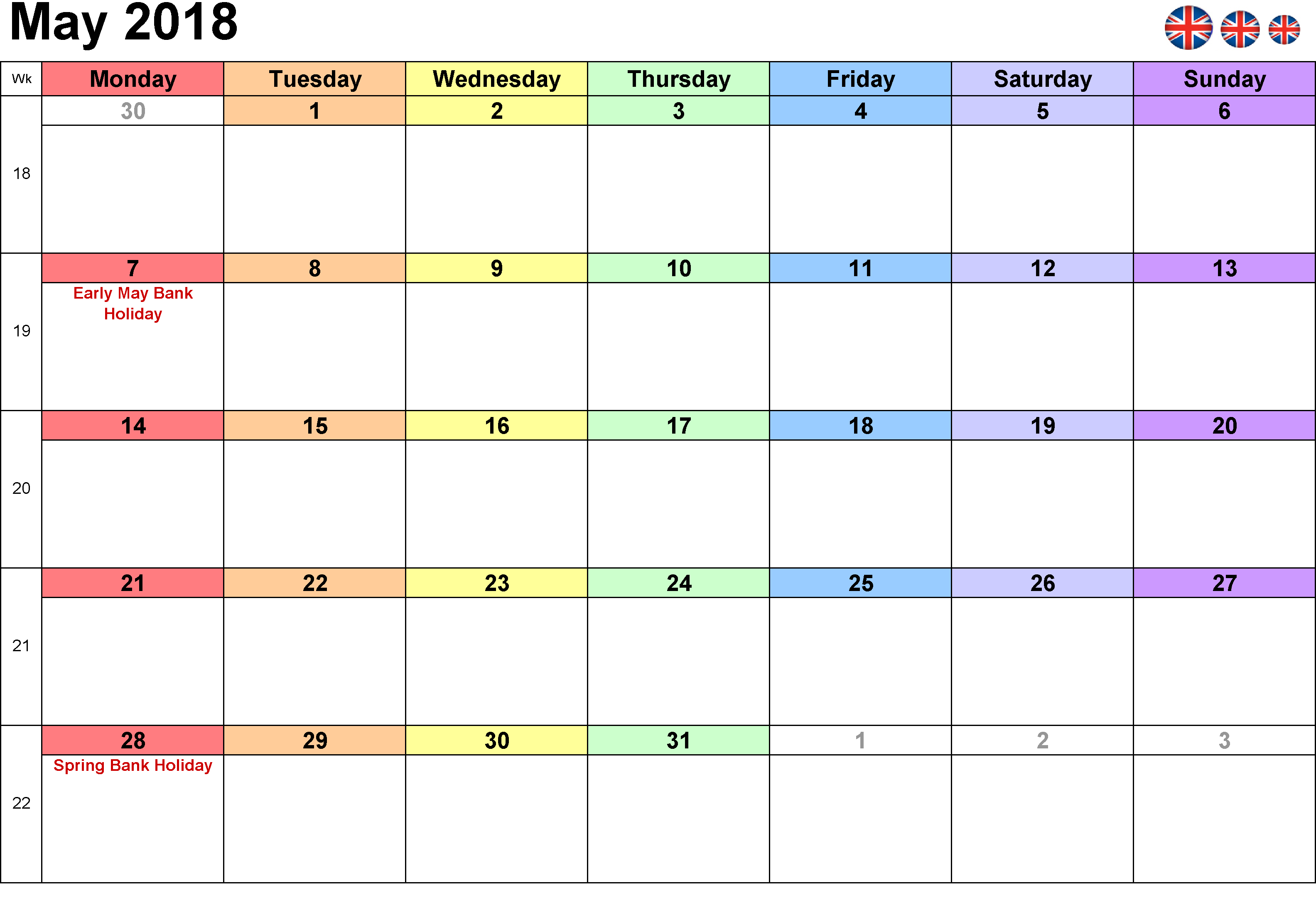 Calendar May 2018 UK Bank Holidays