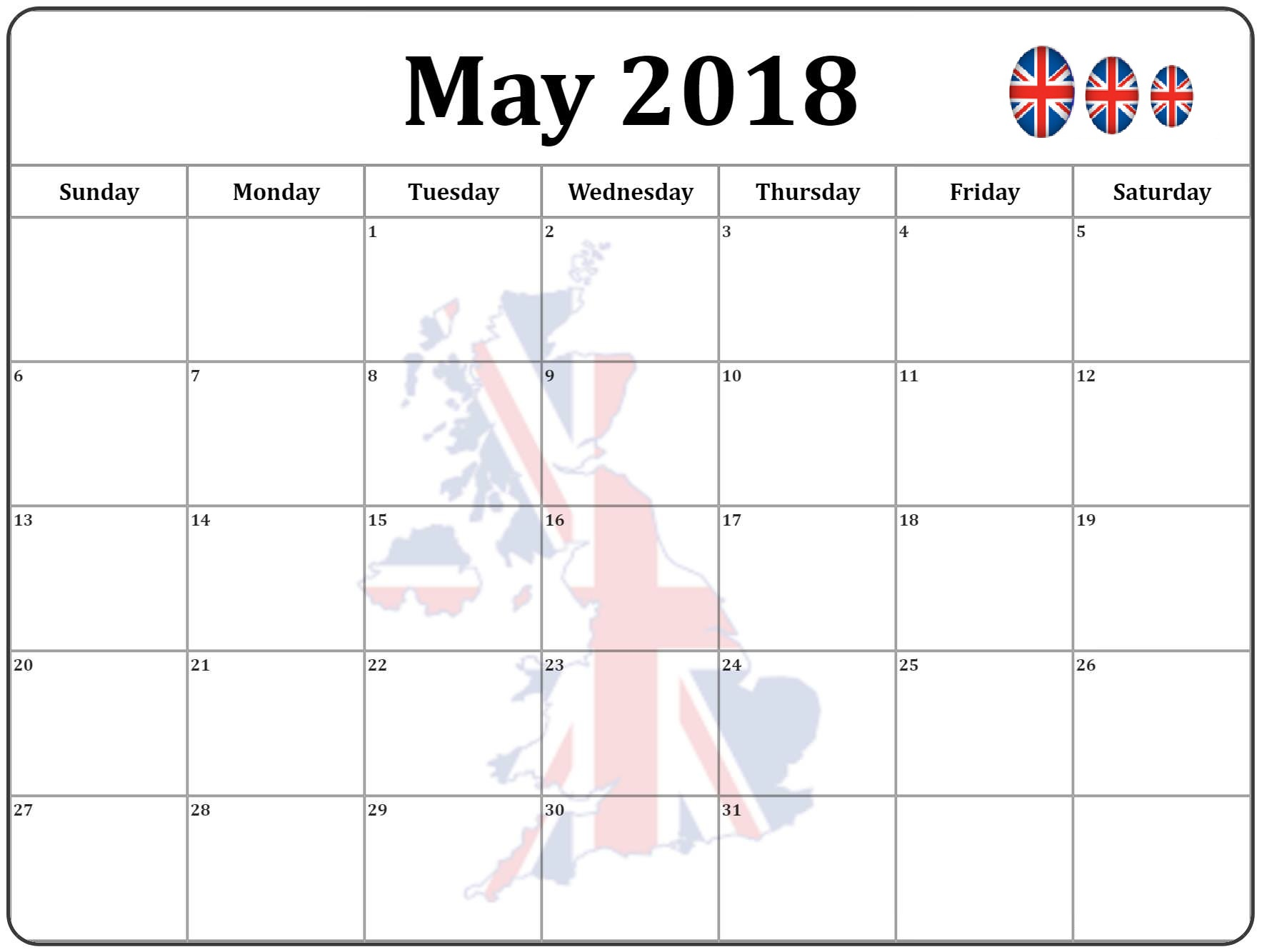 Calendar May 2018 UK With Flag