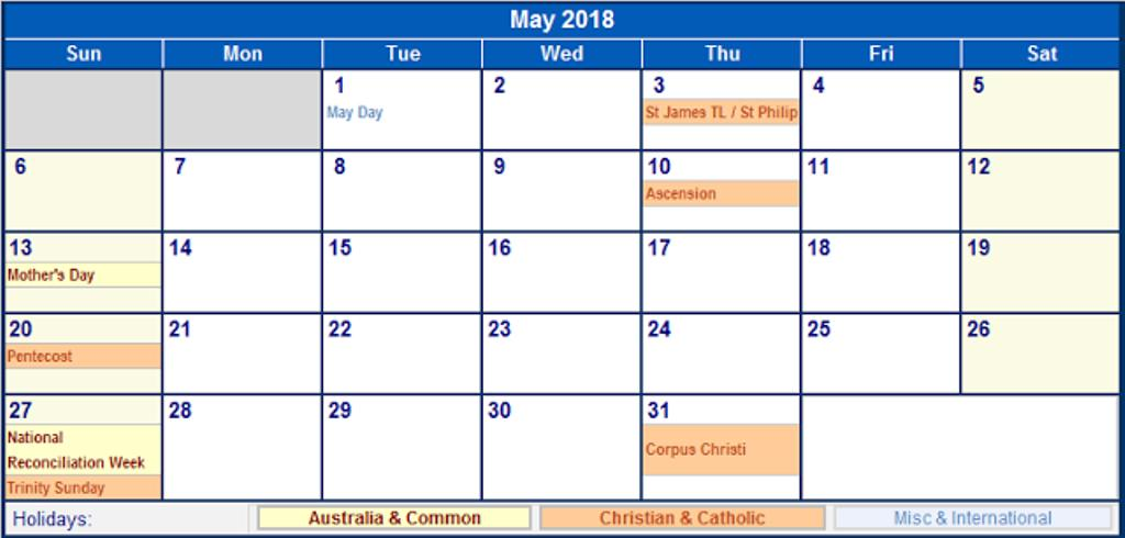 Calendar May 2018 With Holidays