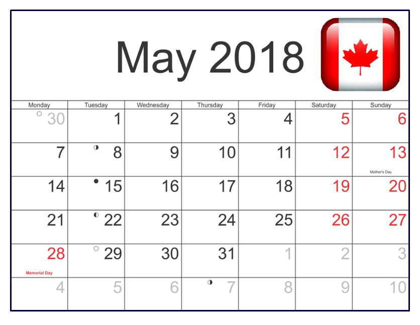 Calendar May 2018 With Holidays Canada