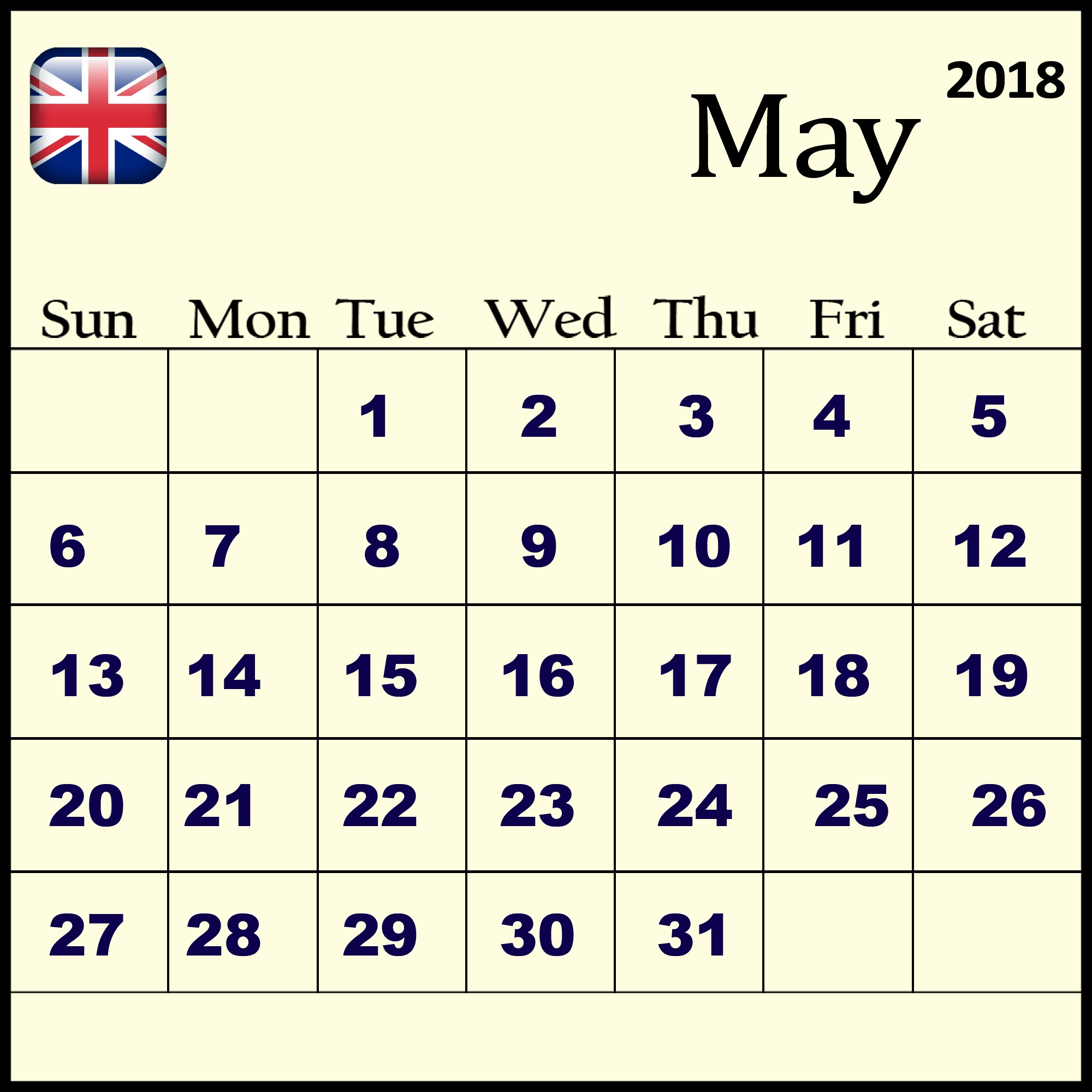 Calendar May Month 2018 UK