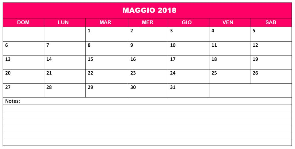 Calendario Maggio 2018 Archives
