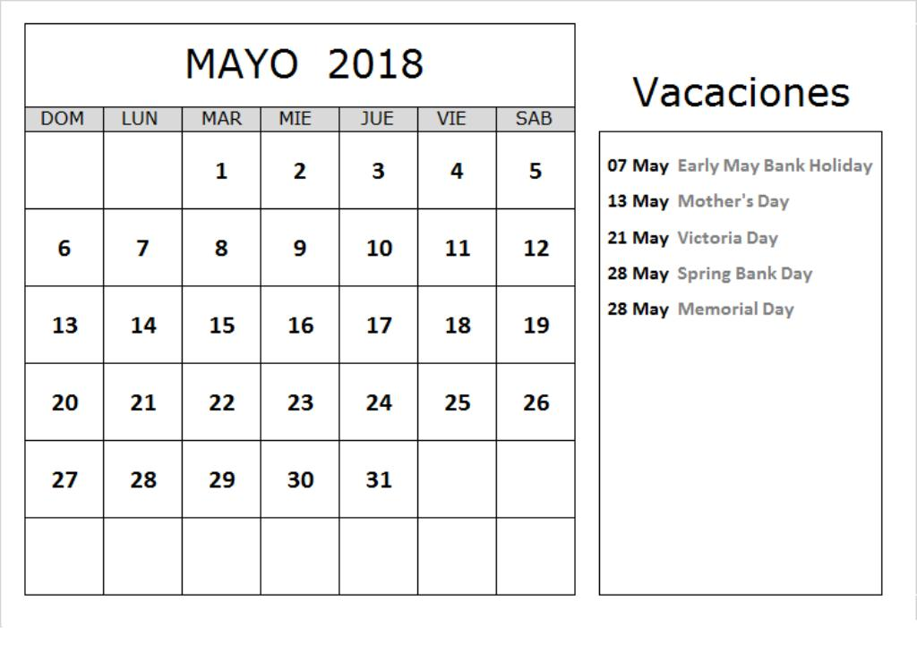 Calendario Mayo 2018 Archives
