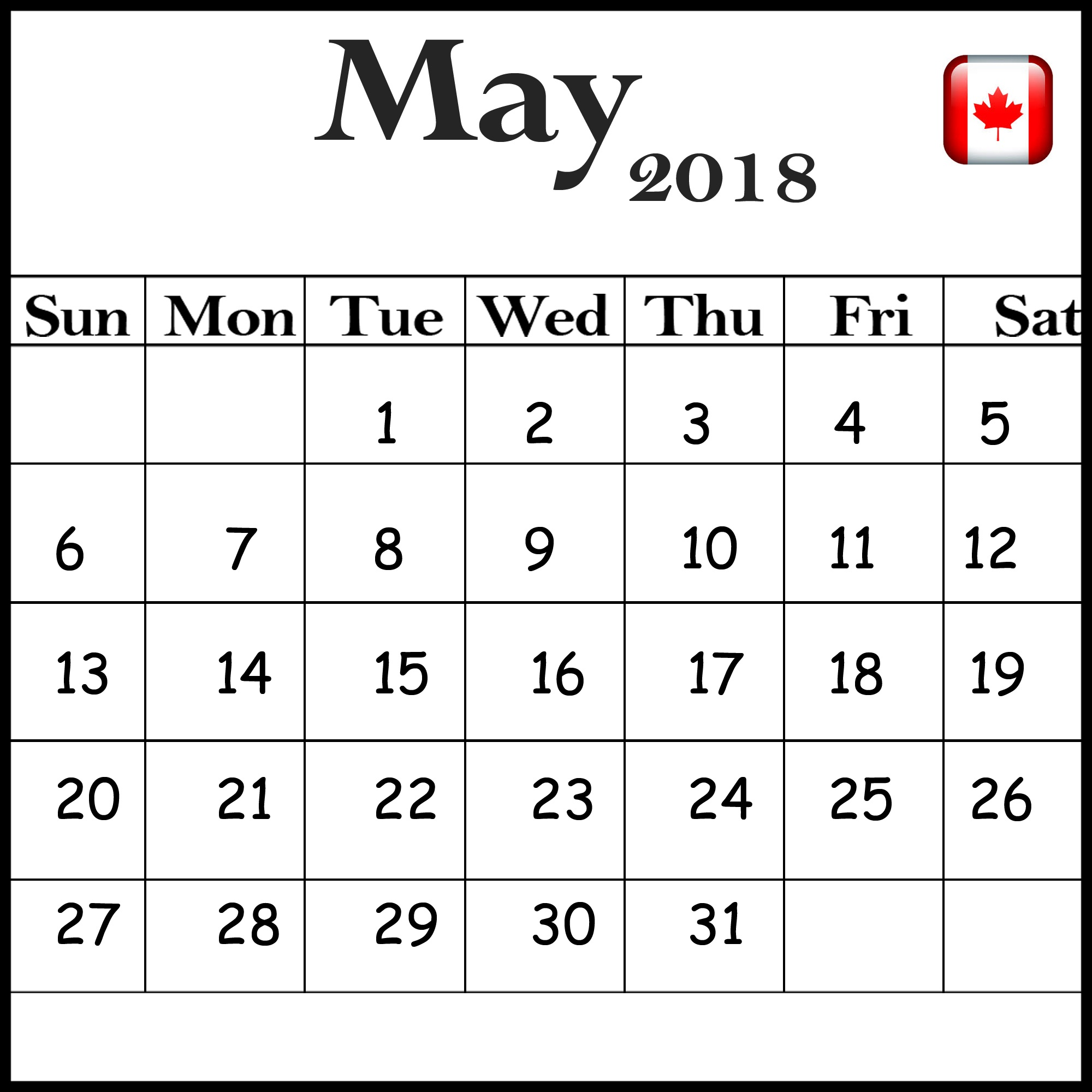 Canada Holidays 2018 May Calendar