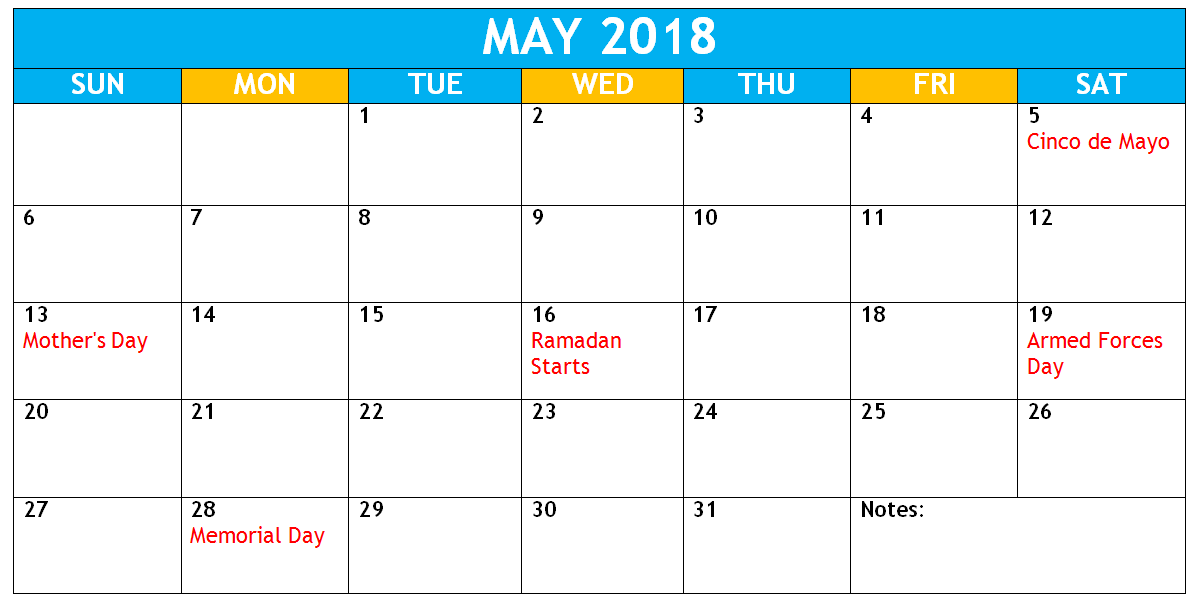 Cute May 2018 Calendar Free Printable