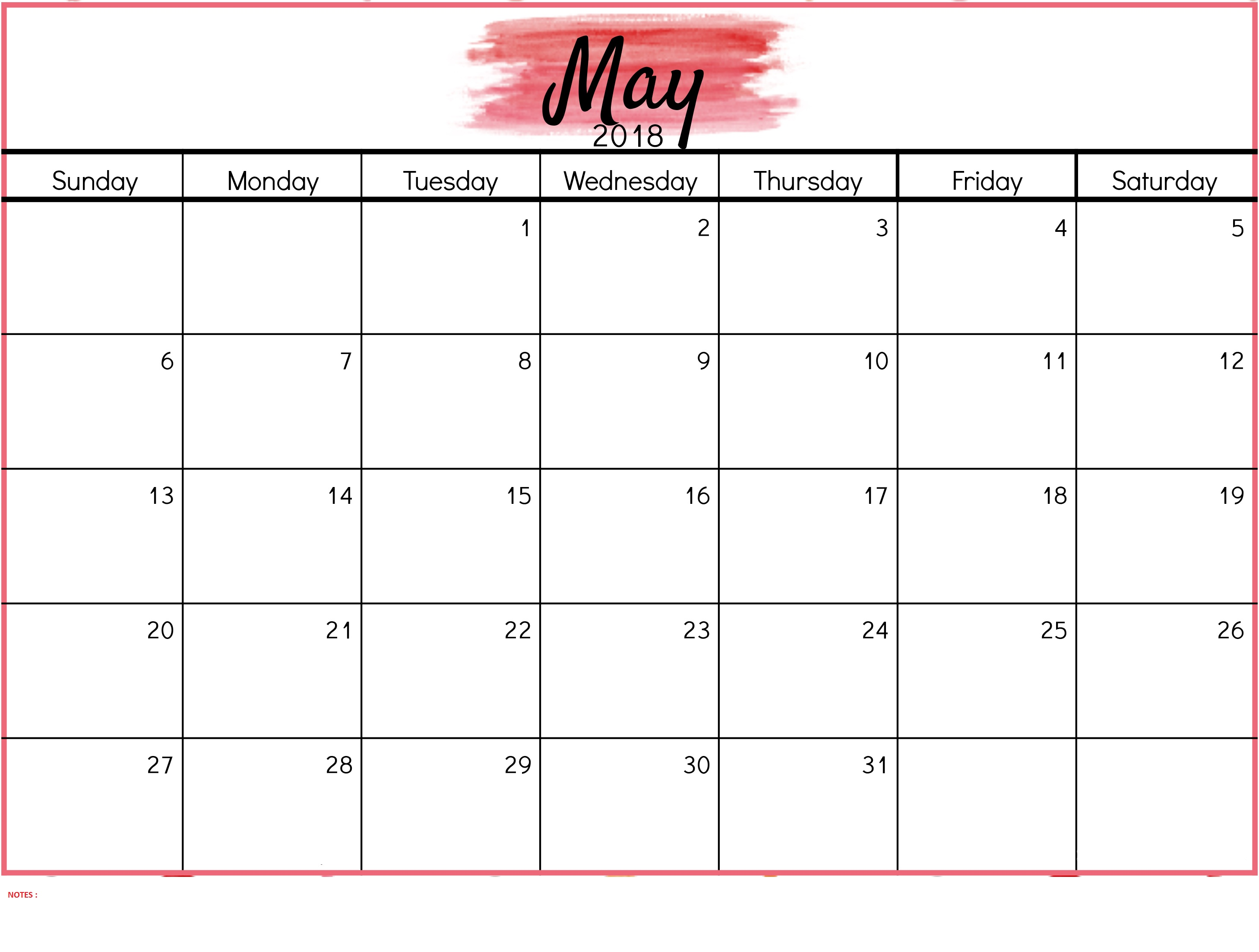Cute May 2018 Calendar With Notes