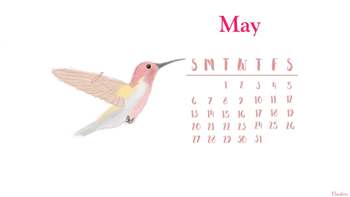 Cute May 2018 Floral Calendar Wallpaper