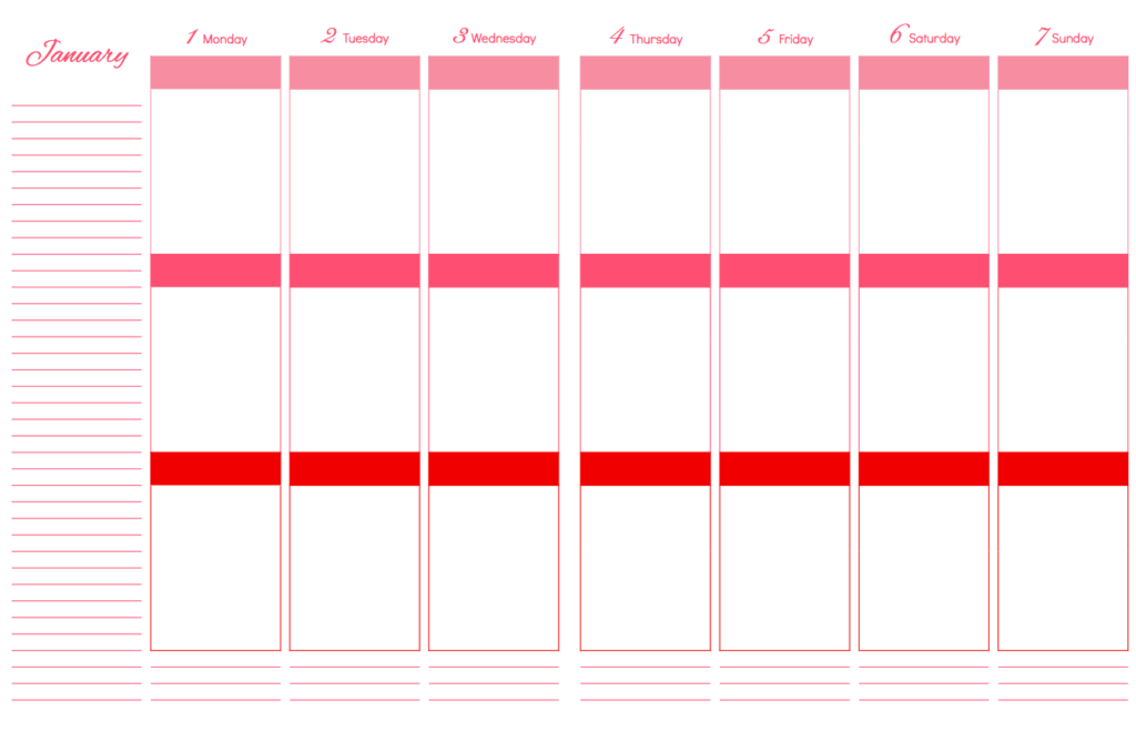 Daily Schedule Planner Template Page
