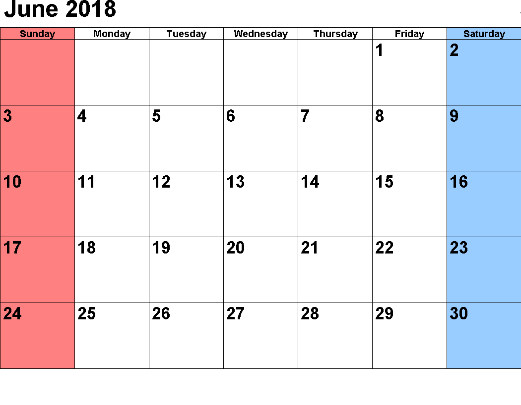 Download June 2018 Calendar Template Design