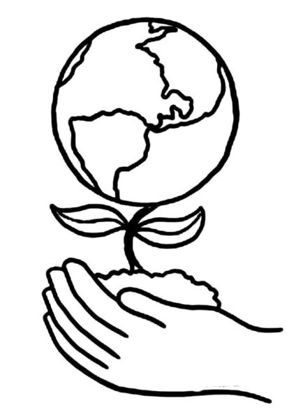 Earth Day Drawing Black-and-White