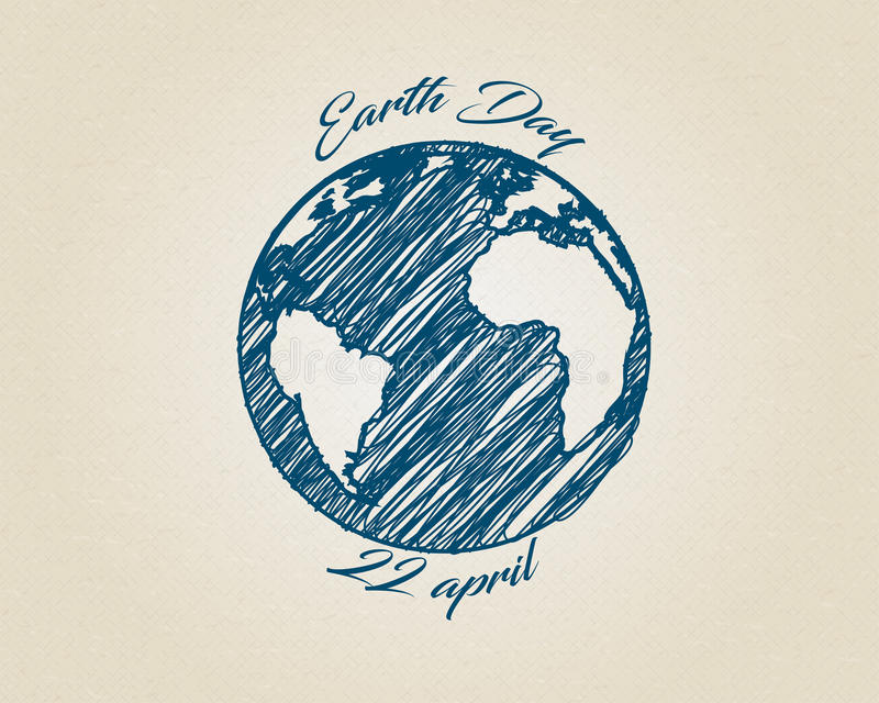 Earth Day Drawing Blue Ink Sketch Vector